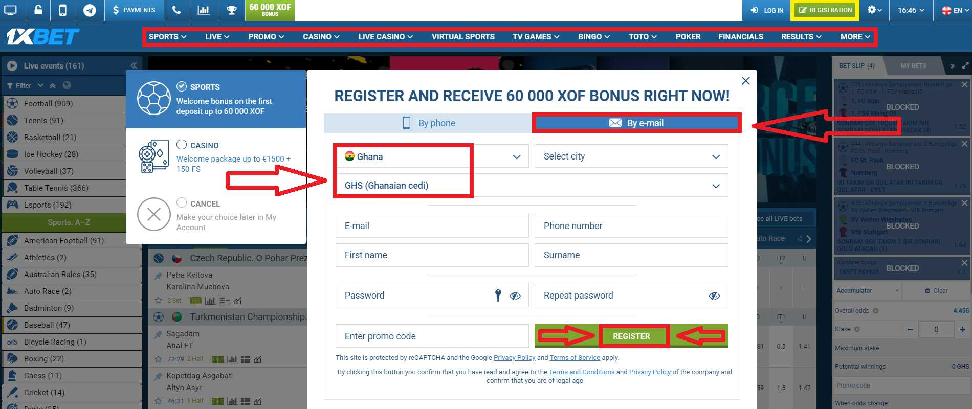 How to provide 1xBet Ghana registration with a bonus?
